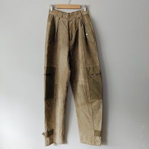 Vintage High Waist Tan Genuine Suede Pants - XS